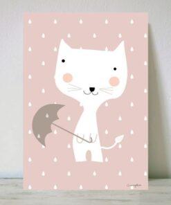 Lámina Gato con Paraguas