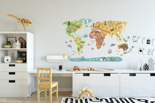 Vinilo infantil mapamundi multicolor