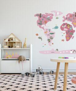 Vinilo infantil mapamundi rosa