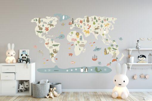 Vinilo infantil mapamundi Beige