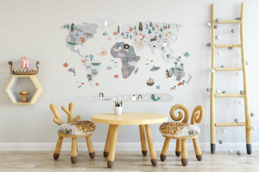 Vinilo infantil mapamundi Gris