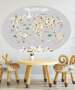 Vinilo infantil mapamundi ovalado Gris