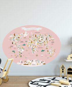 Vinilo infantil mapamundi ovalado Rosa