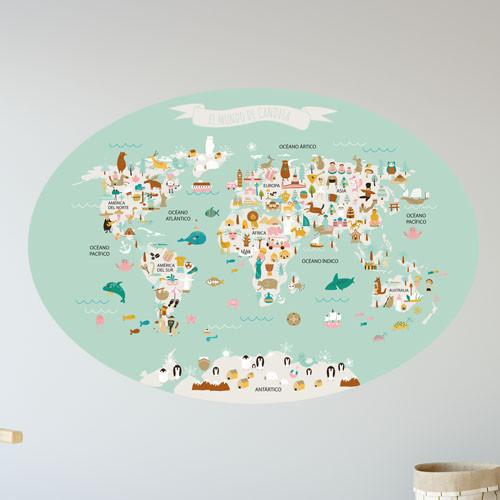 Vinilo infantil mapamundi ovalado mint