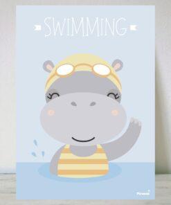 Lámina Hipopótamo Nadadora