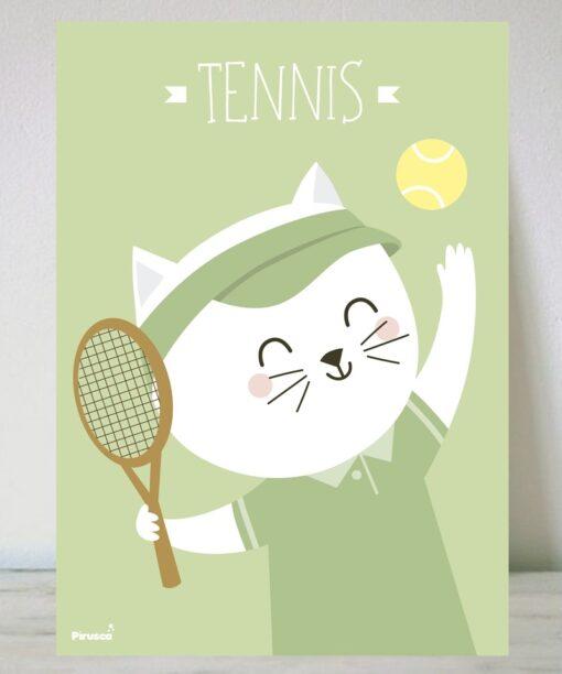 Lámina Gato Tenista