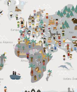 Lámina Mapamundi Cultural Gris