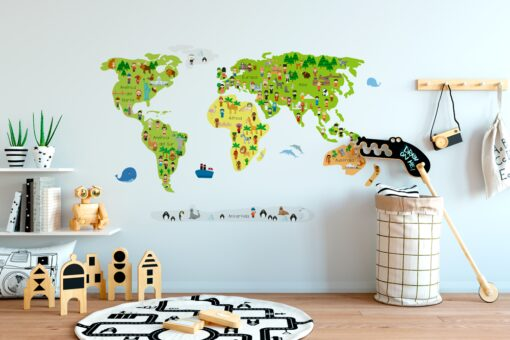 Vinilo infantil mapamundi cultural multicolor
