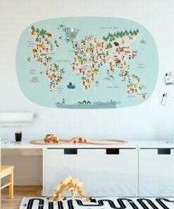 Vinilo infantil mapamundi ovalado Azul