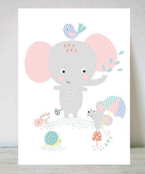 Lámina Elefante y amiguitos
