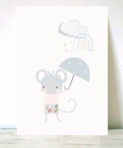 Lámina ratoncita paraguas