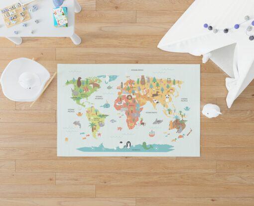 Alfombra Mapamundi Animales Multicolor