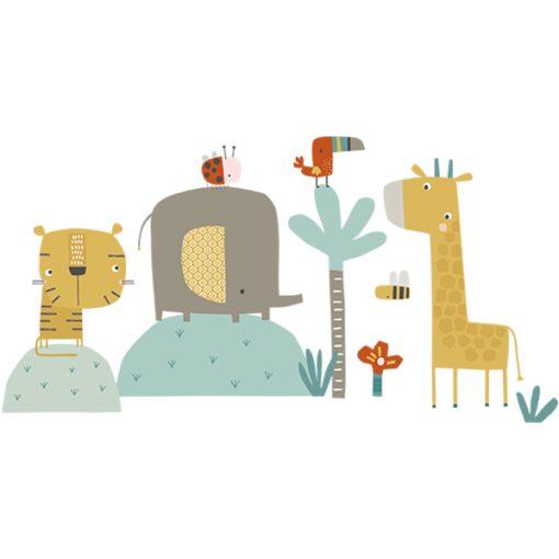 Vinilo Selva, tigre,elefante y jirafa