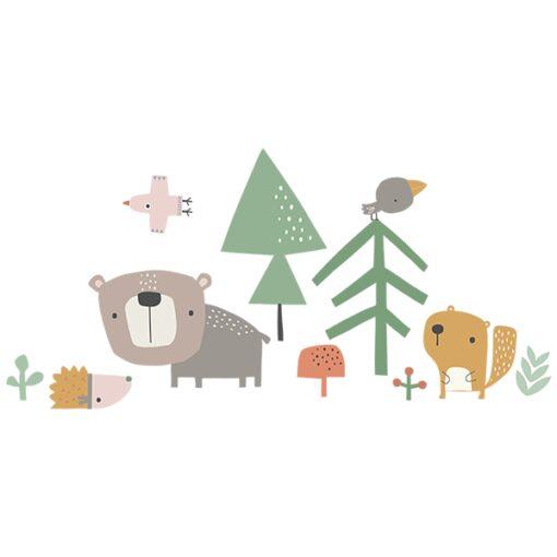 Vinilo Bosque, oso y ardilla