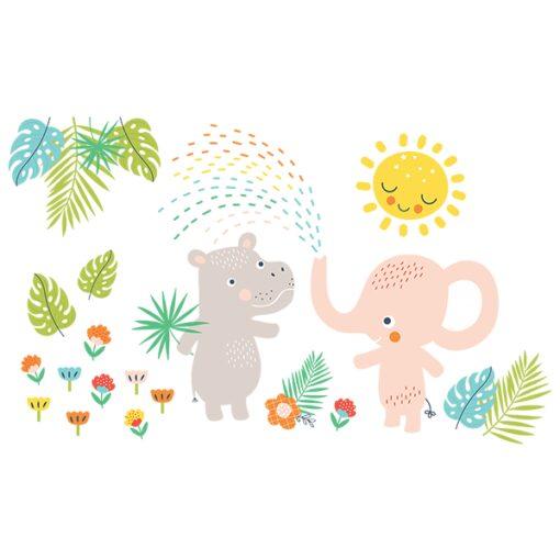 Vinilo hipopótamo y elefante