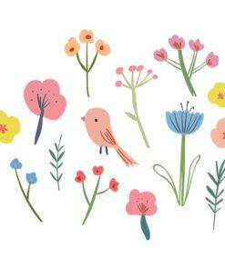 Vinilo pájaro y flores