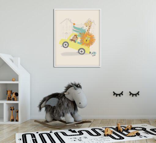 Lámina Infantil Cocodrilo, Jirafa, Monito y León en coche