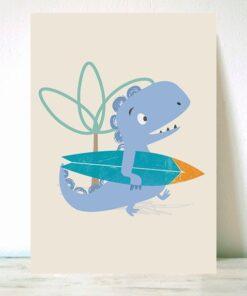 Lámina Infantil Dinosaurio Surf