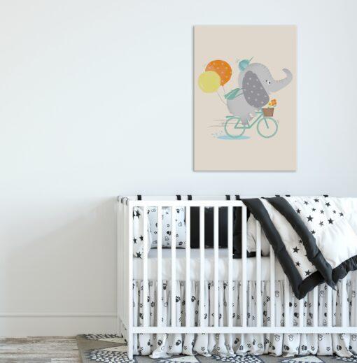 Lámina Infantil Elefante en Bici