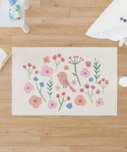 Alfombra de Vinilo Pájaro y Flores