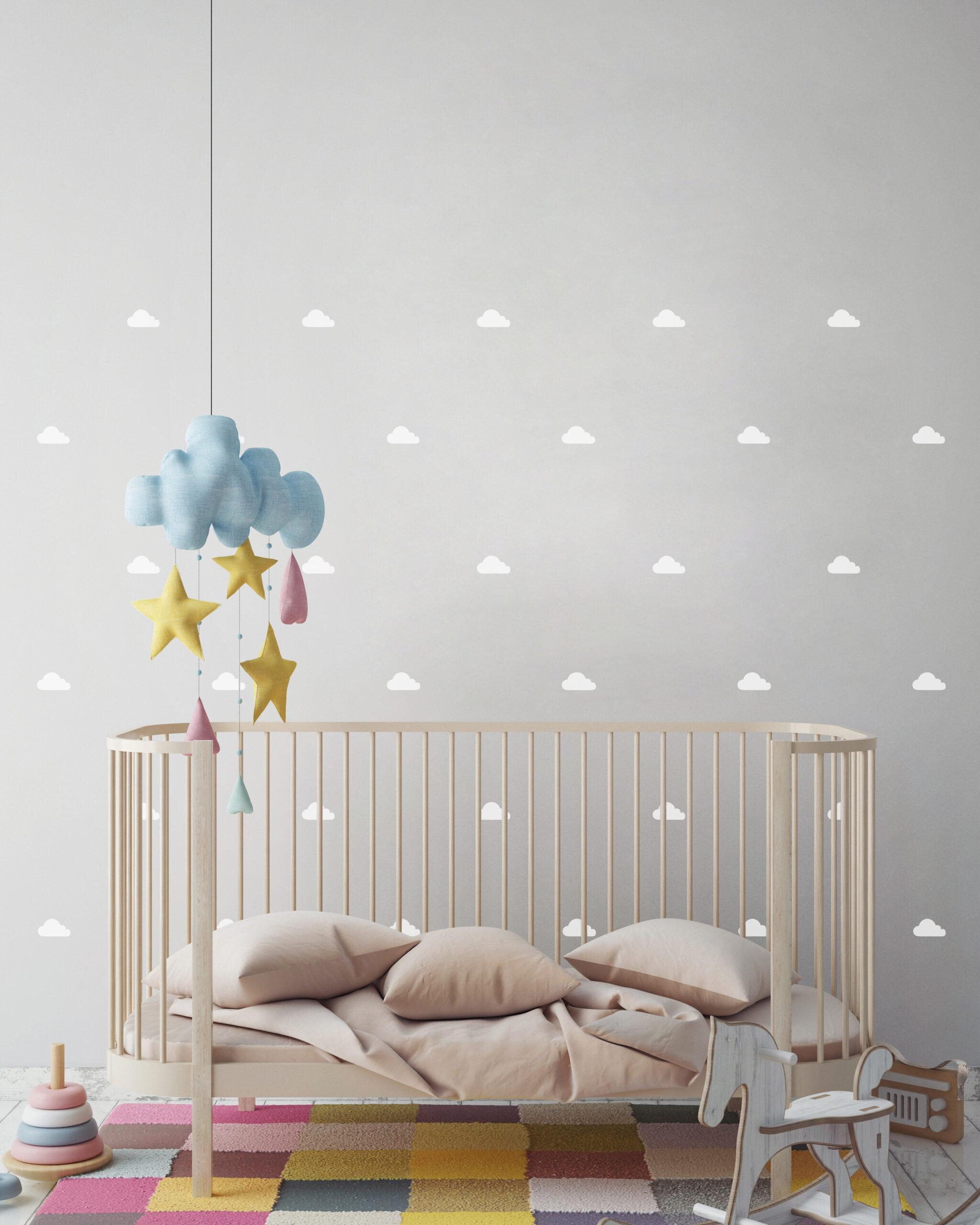Mini Vinilo Infantil Nubes blancas