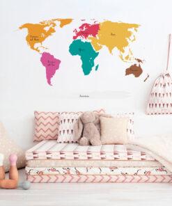 Vinilo Mapamundi Montessori Colores