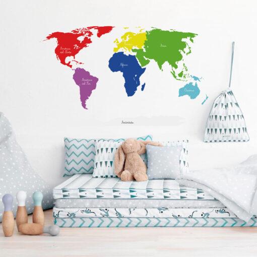 Vinilo Mapamundi Montessori Colores Primarios y Secundarios