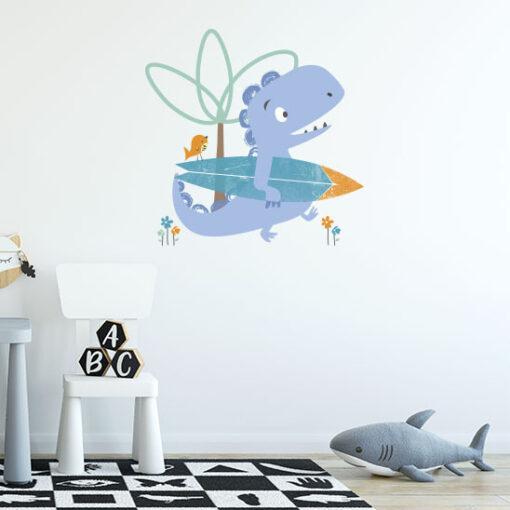 Vinilo Infantil Dinosaurio Surf