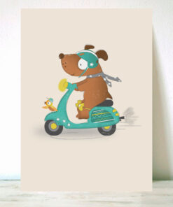 Lámina Infantil Perro en Moto