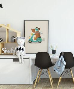 Lámina Infantil Perro en Moto cuarto