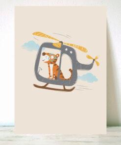 Lámina Infantil Tigre en helicóptero