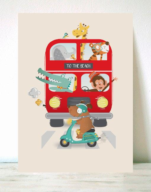 Lámina Infantil Animales en el autobús y moto